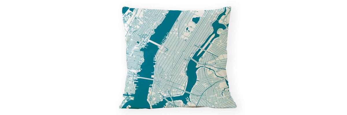 Neue Linie. Stadtplan Kissen - Neue Linie. Stadtplan Kissen weltweit in 26 Farben