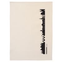 CITY TEA TOWEL. Dish towel made of cotton with coloured skyline  Black