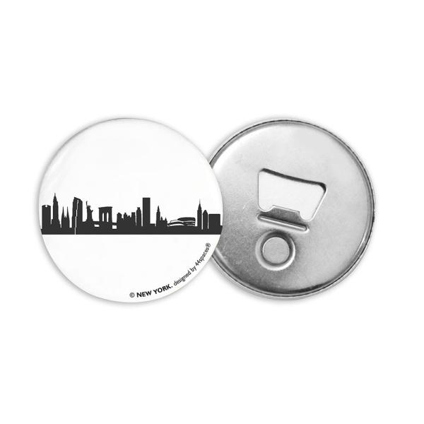 NEW YORK BOTTLE OPENER. Magnetic bottle opener with skyline in dark grey