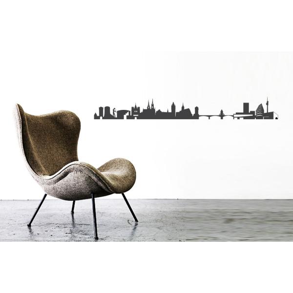 City Sticker Basel Wandaufkleber Walltattoo Skyline Dunkelgrau By