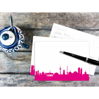 BERLIN POSTCARD . Skyline pink