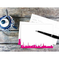 HAMBURG POSTCARD . Skyline pink