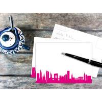 NEW YORK POSTCARD . Skyline pink