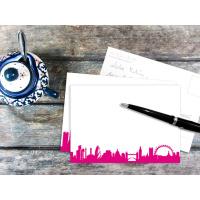 LONDON POSTCARD . Skyline pink
