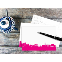 AMSTERDAM POSTCARD . Skyline pink