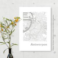 Antwerpen Karte Eckig. silber | A3