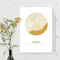 Lissabon Karte Rund. roségold | A3