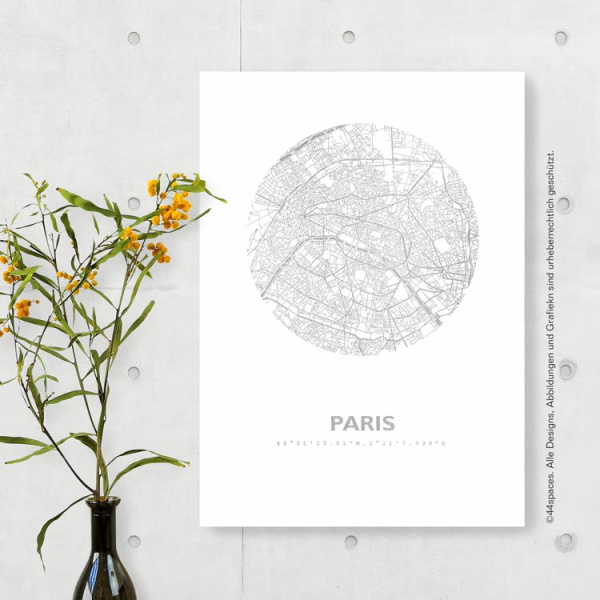 Paris Artwork City Map In Gold Copper Rosegold Silver Made By