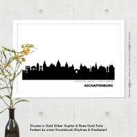 Aschaffenburg Skyline Bild s/w