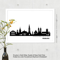 Freiburg Skyline Bild s/w