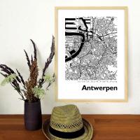 Antwerpen Map Black & White