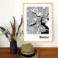 Boston Map Black & White