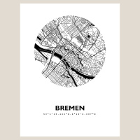 Bremen Map Black & White
