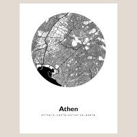 Athen Map Black & White