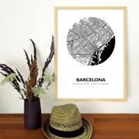 Barcelona Map Black & White