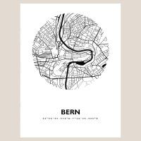 Bern Map Black & White