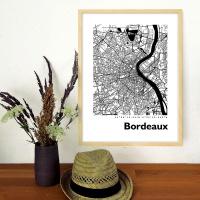 Bordeaux Map Black & White