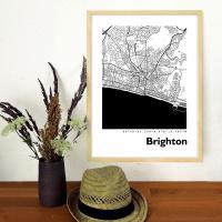 Brighton Map Black & White