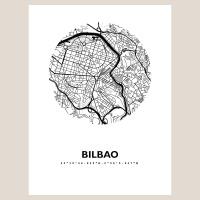 Bilbao Map Black & White
