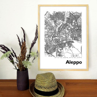Aleppo Map Black & White