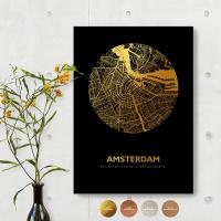 Amsterdam City Map Black & Circle