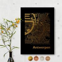 Antwerpen City Map Black & Angular