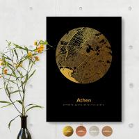 Athen City Map Black & Circle