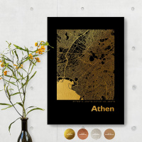 Athen City Map Black & Angular