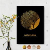 Barcelona City Map Black & Circle