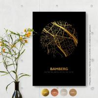 Bamberg City Map Black & Circle