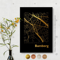 Bamberg City Map Black & Angular