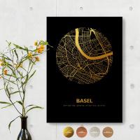 Basel City Map Black & Circle