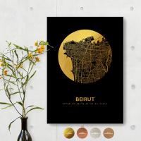 Beirut City Map Black & Circle