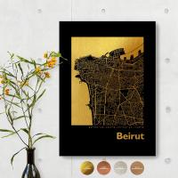 Beirut City Map Black & Angular