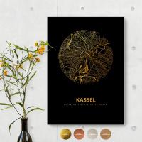 Kassel Black Map schwarz rund