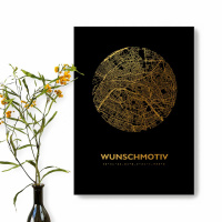 .Black Map round motif of your choice